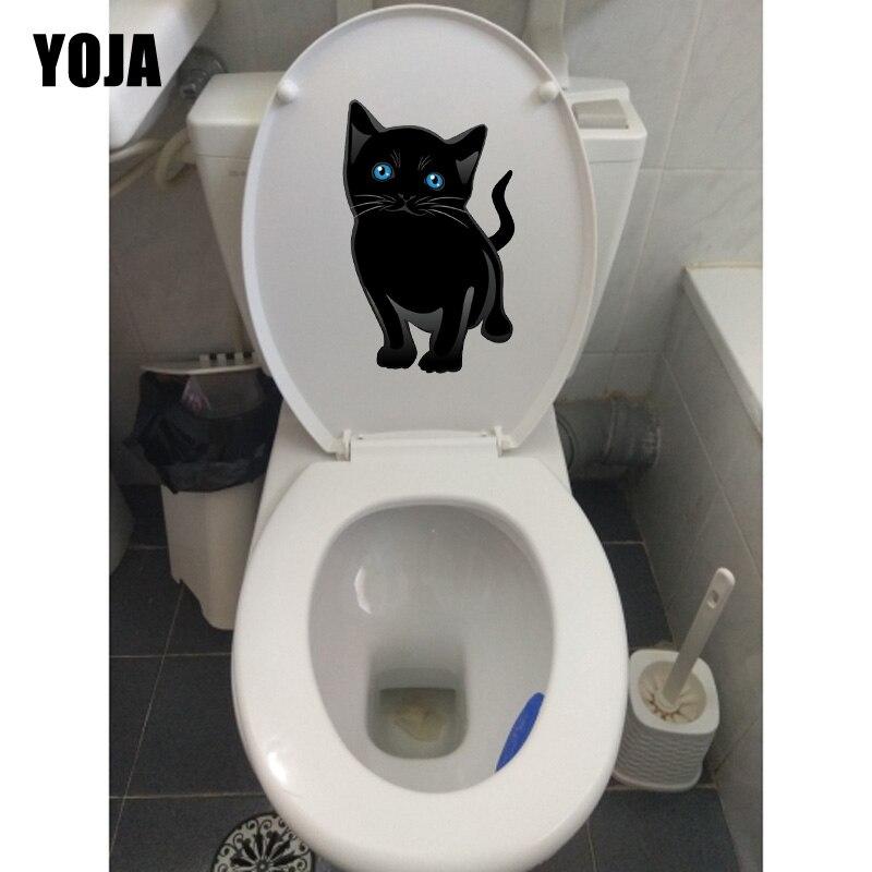 YOJA 13.9*22.5 cm Dos Desenhos Animados Gato Preto Home Room Decor Adesivos de Parede Mural Wc Etiqueta T1-0180