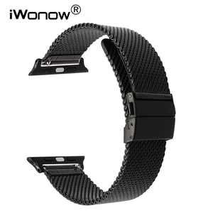 Milanese Stainless Steel Watchband for iWatch Apple Watch Series 5 4 3 2 1 44mm 40mm 42mm 38mm Band Butterfly Buckle Strap Belt