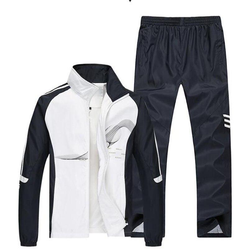 2018 الرجال مجموعة الربيع الخريف الرجال الرياضية 2 قطعة مجموعة الرياضية بدلة رياضية سترة + السراويل Sweatsuits الرجال ملابس رياضية مجموعات