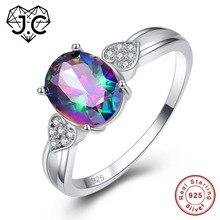 J.C Oval Cut Mystic Fire Rainbow Blue & Heart White Topaz 925 Sterling Silver Ring Size 6 7 8 9 Women Fine Jewelry Lovers Gift