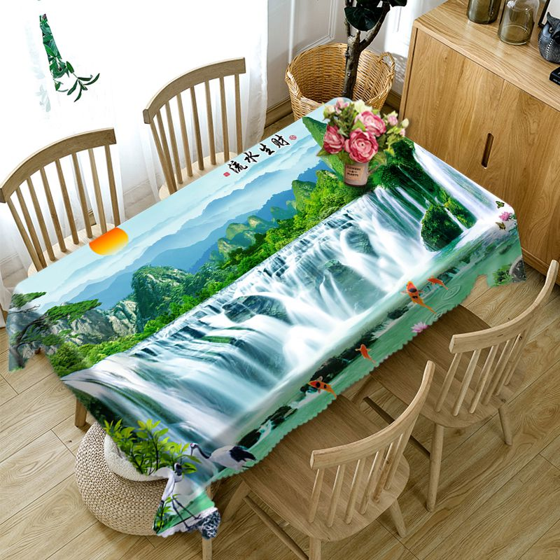 Скатерть в китайском стиле, 3d водопад и высокие горы, ландшафтный узор, моющаяся плотная Прямоугольная Скатерть для свадьбы