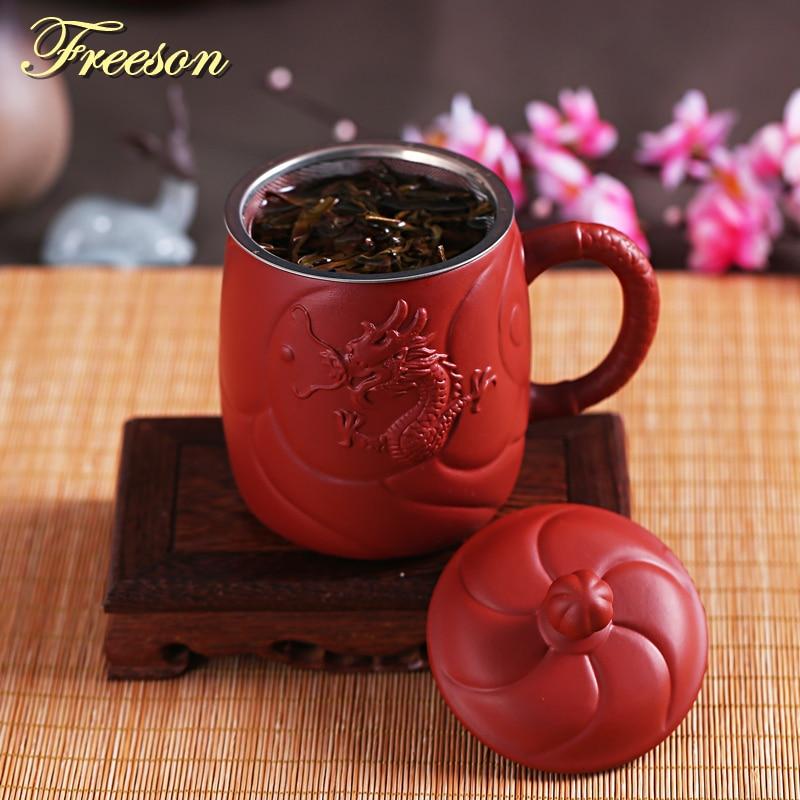Ретро древний китайский дракон, фиолетовая глина, чайная кружка с крышкой, ручная работа, Yixing Zisha, чашка для чая, 440 мл, чашка для чая, подарок, ...