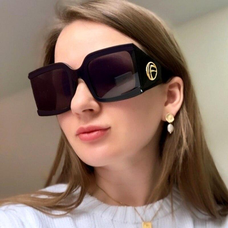 New Oversize Designer Women Sunglasses Square Semi Rimless Luxury Brand Sun Glasses 2019 Fashion Sha