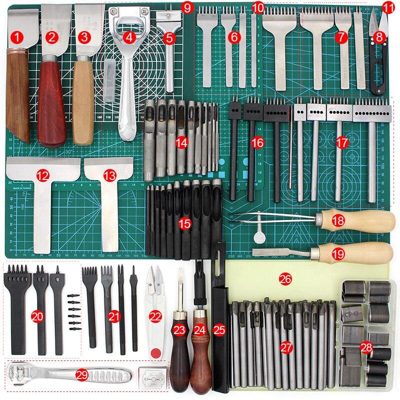 Herramientas de costura de cuero herramientas de cuero DIY Kit de costura a mano con Awl hilo dedal encerado para coser cuero, lona