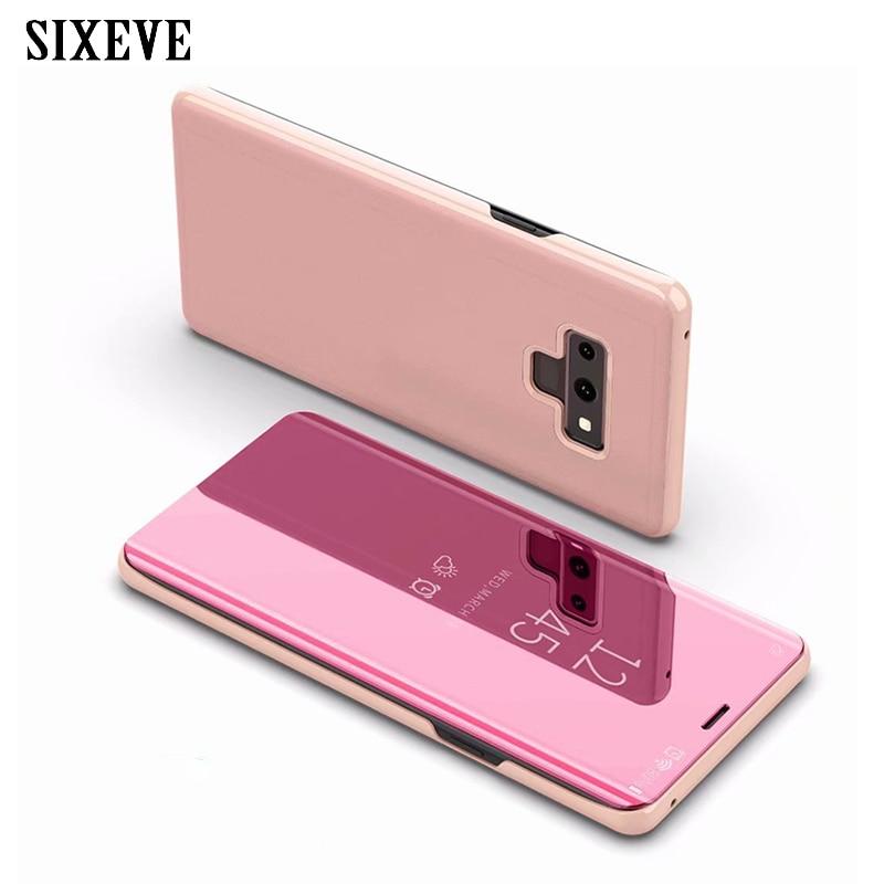 Espejo Flip funda para Samsung Galaxy S8 S9 Plus Nota 8 9 A3 A5 A7 J7 Neo J5 J3 Pro Grand J2 primer 2017 A6 A8 J4 J6 J8 2018 cubierta