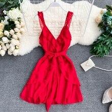 Seaside Holiday Dress V-neck Dot Women Spinning High Waist Lace Irregular Ruffled Elegant Vestidos H025