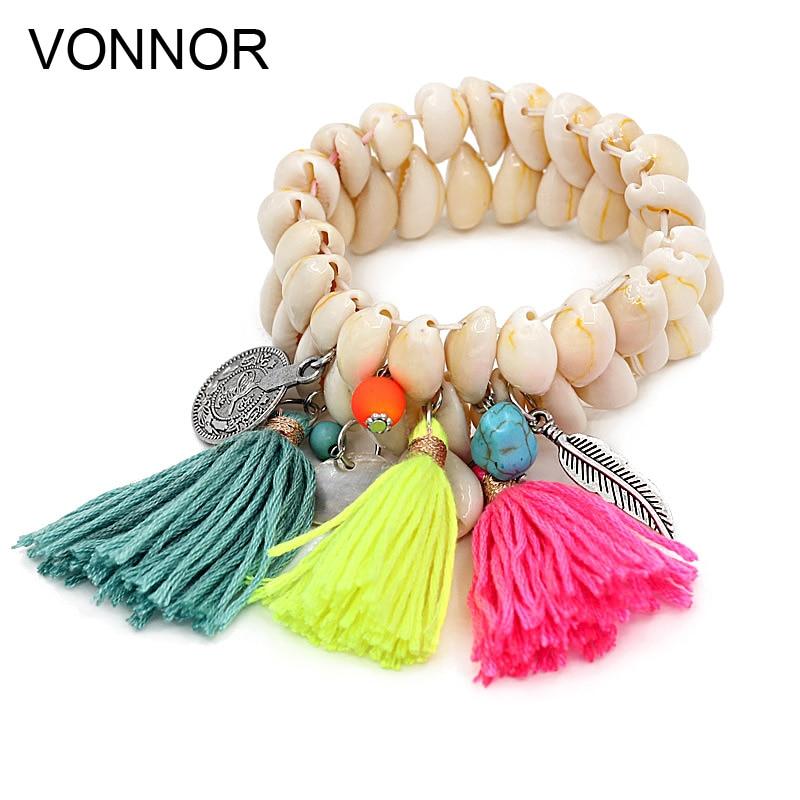 VONNOR Jewelry Bracelet for Women Shell Bracelet Tassel Alloy Pendant Bohemian Bracelets Female Girl Accessories dropshipping