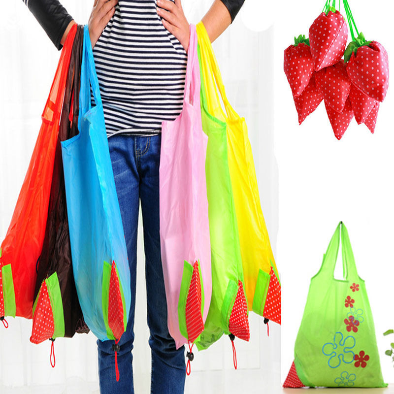 Novo náilon dobrável reutilizável sacos de compras morango tote eco armazenamento bolsa morango uvas abacaxi saco de compras dobrável