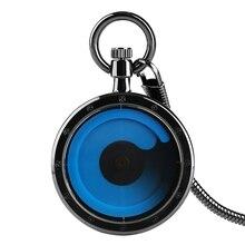 Hot Fashion Quartz Black Case Pocket Watches Creative Fob Watch with Waist Chain Gift for Men Women Reloj De Bolsillo Hombre