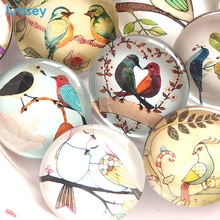 Aimants chinois pour réfrigérateur frais 35MM   Autocollants en verre pour décoration beau oiseau de jardin de maison, cadeaux créatifs, bricolage