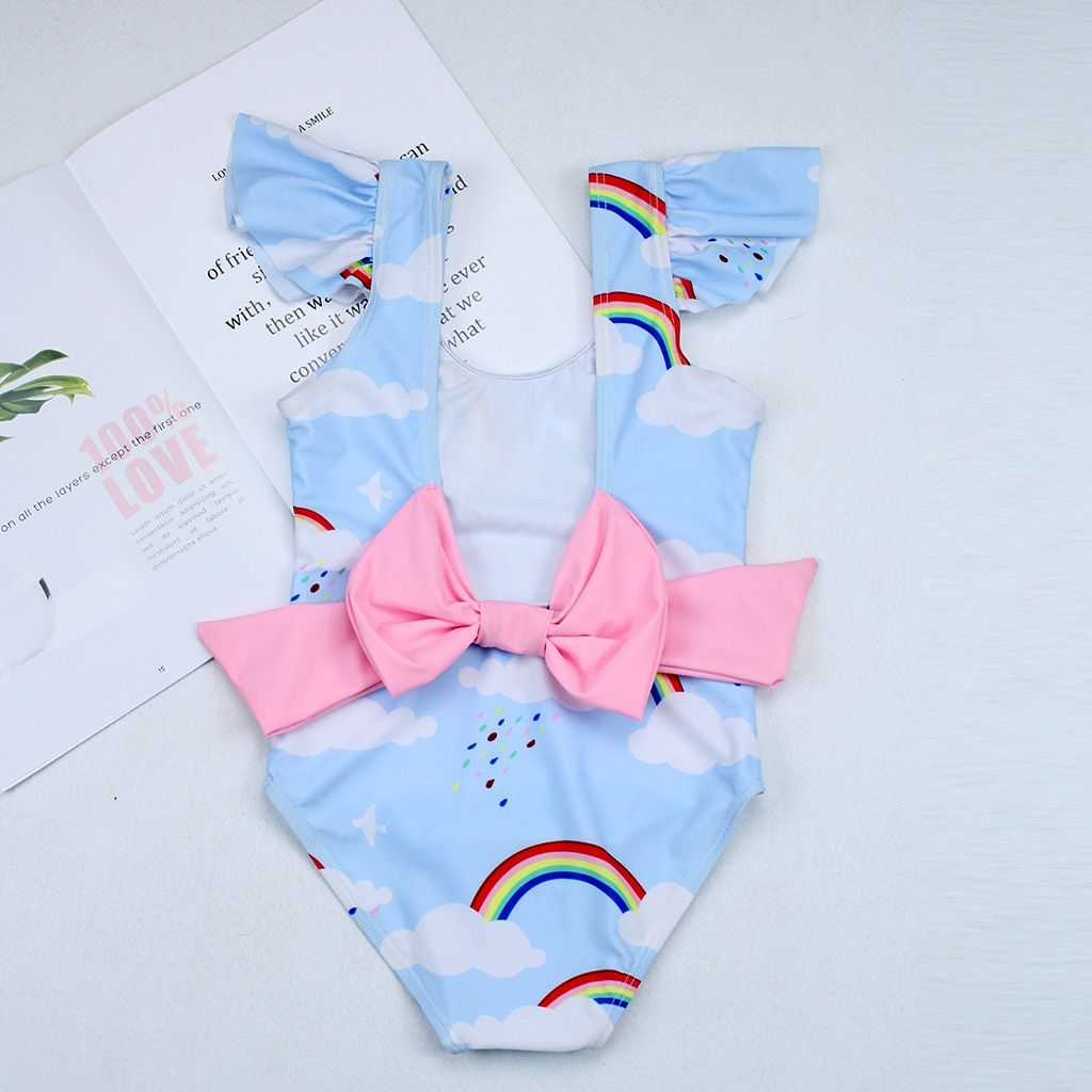 2019New Swimsuit Girls One Piece Swimwear Children Bodysuit Pretty Rainbow and Cloud Print Big Bowknot Swimsuit