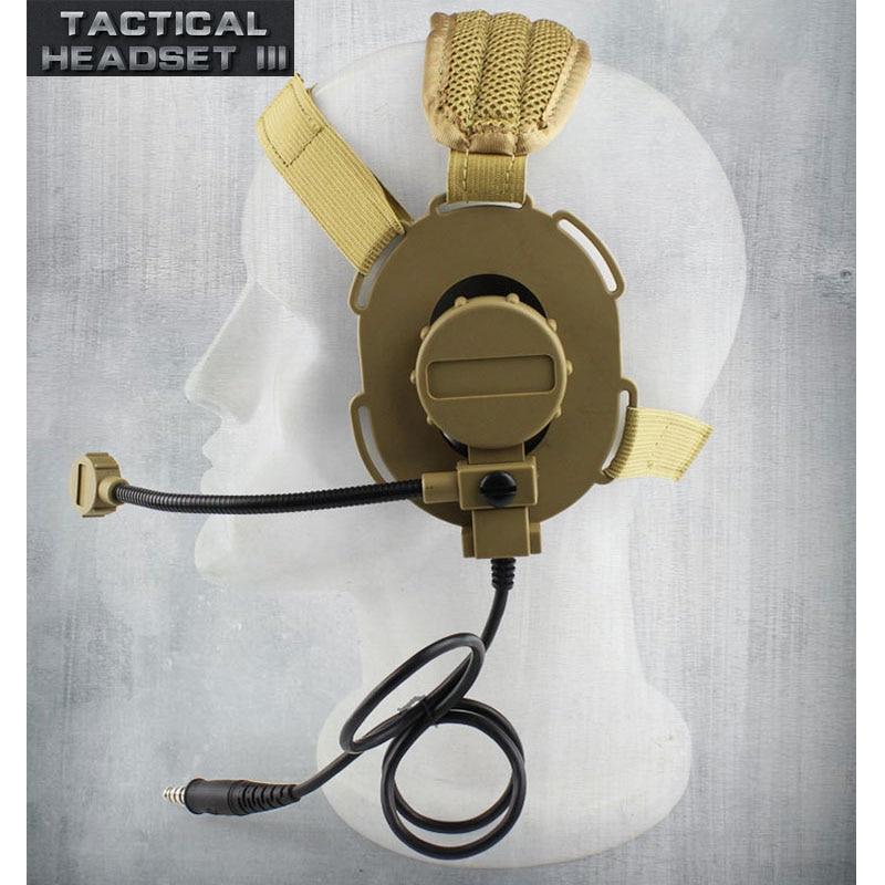 Tactical Headset III Z Tactical Bowman Elite II CS Headphone Use with PTT for Walkie Talkie Helmet Communication CS