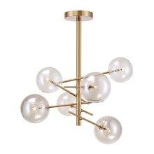 Moderne magie bean goldene eisen einstellbar kronleuchter designer zweig bernstein glas ball DIY 6 köpfe LED G4 beleuchtung für wohnzimmer zimmer