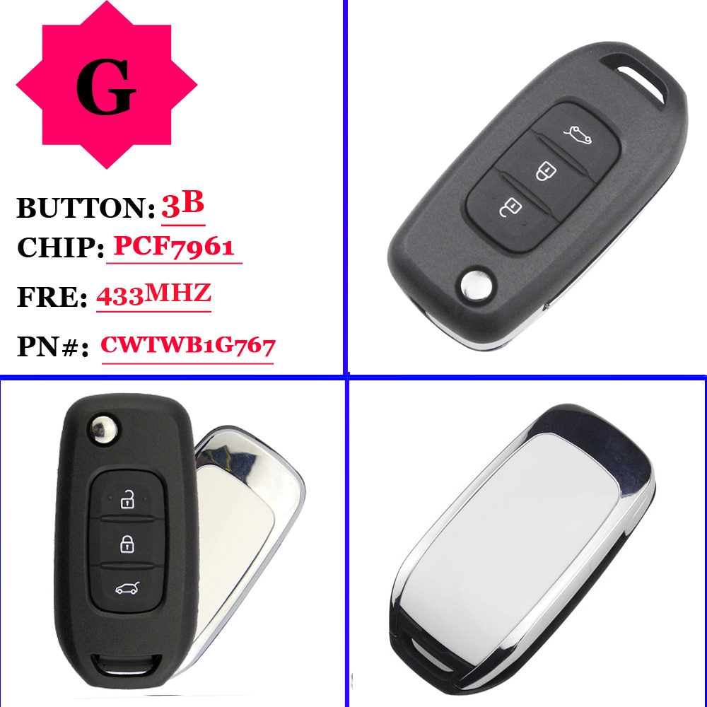 Free shipping OEM 3 Buttons 433MHz  PCF7961 Remote Flip Car Key For Renault Kadjar Captur Symbol Megane 3 CWTWB1G767 No Mark