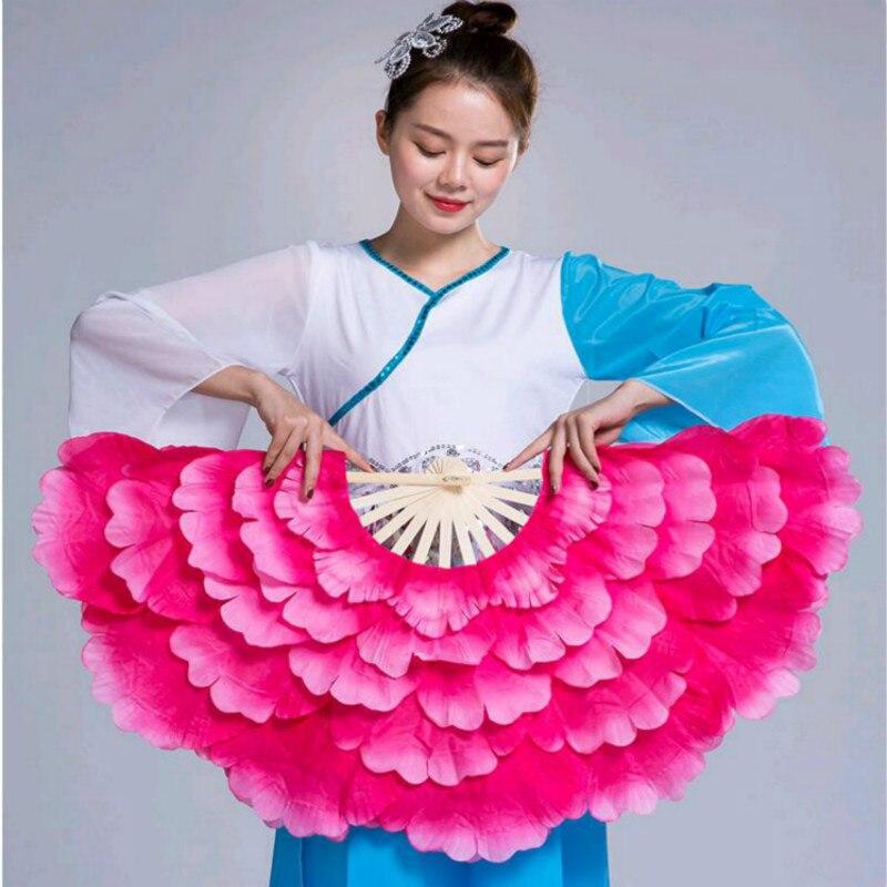 Abanico de baile de doble cara con flor de peonía para adultos,...