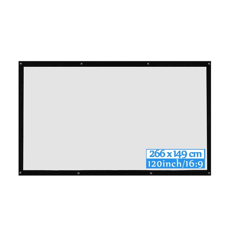 ALLOYSEED portátil 60/72/84/100/120 pulgadas 3D HD pantalla de proyección montada en la pared lienzo 16:9 LED proyector pantalla para cine en casa