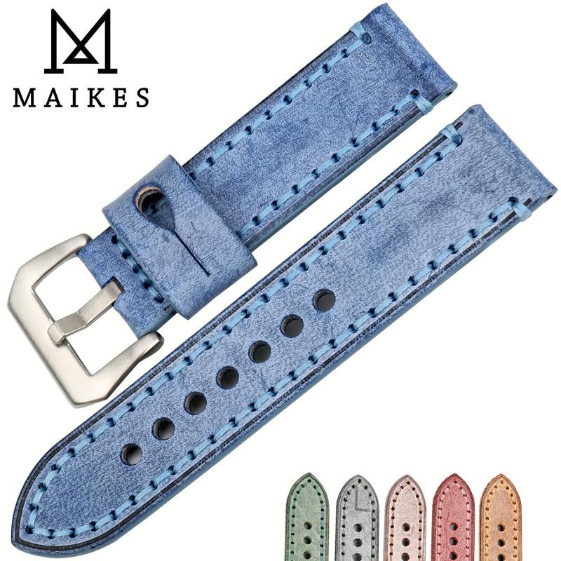 MAIKES Handmade Retro Watch Accessories Bracelet Watchband Leather Watch Strap Blue 22mm 24mm Watch Band For Panerai