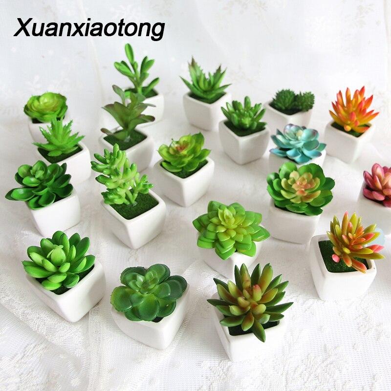 Мини Яркий кактус сочные украшения для дома и сада искусственное растение бонсай с вазой для офисного стола декор для помещений поддельные растения