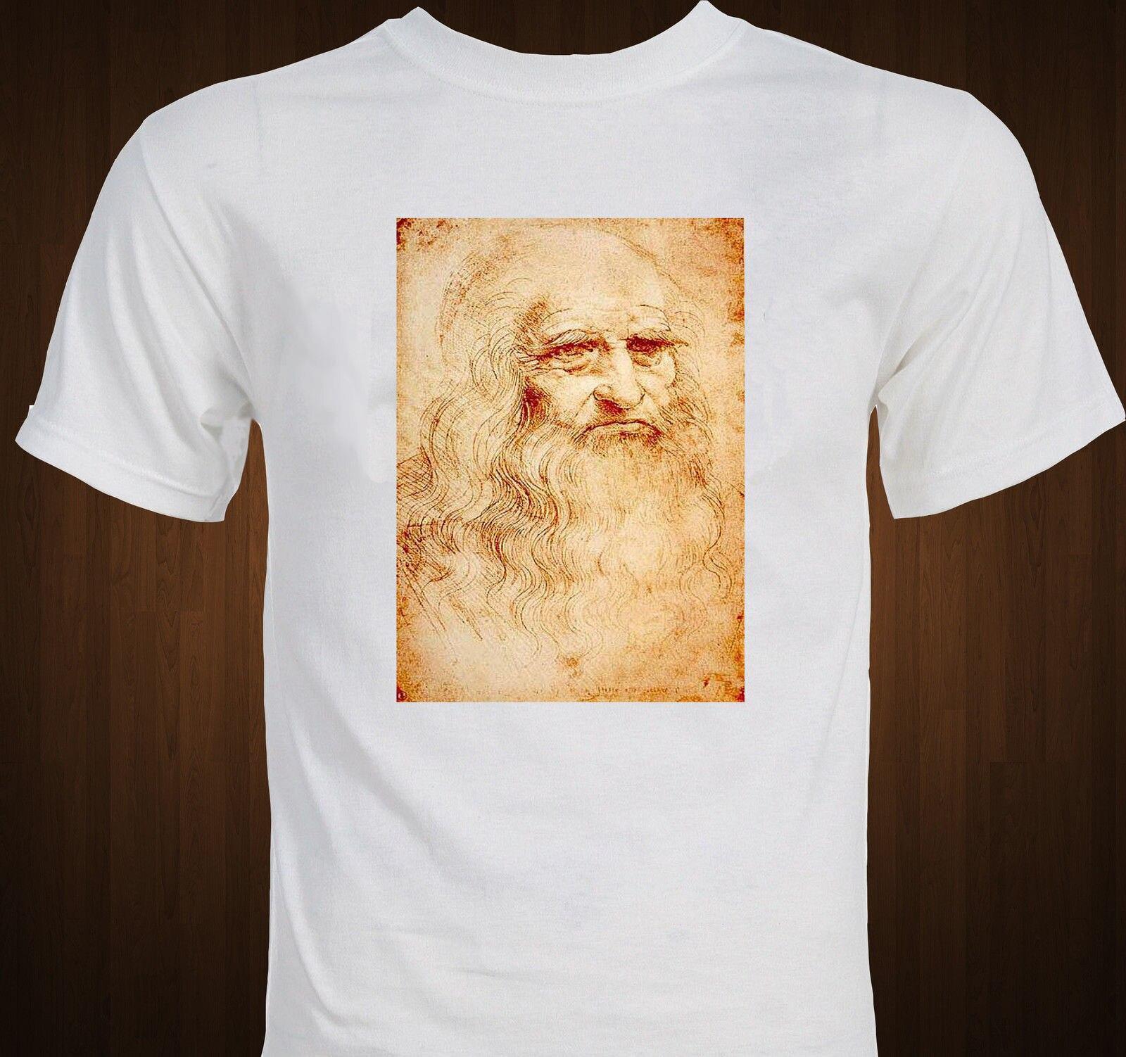 Leonardo Da Vinci autorretrato dibujo arte renacentista camiseta Cool Casual pride camiseta hombres Unisex camiseta de moda