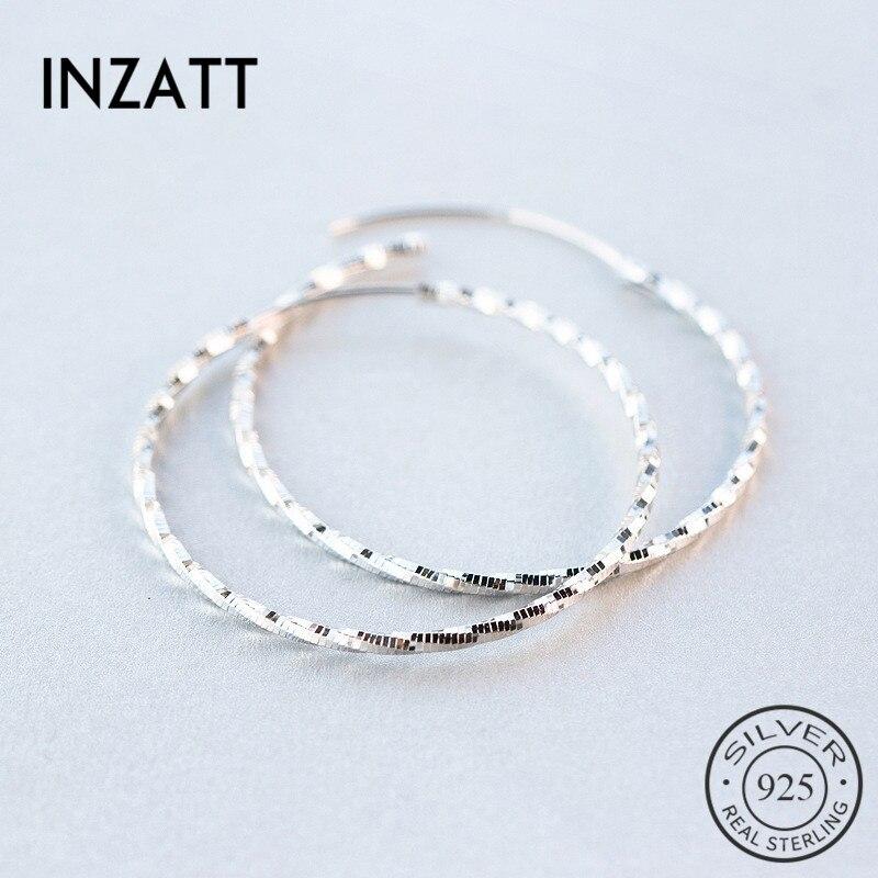 INZATT Plata de Ley 925 auténtica pendientes de aro grandes, brillantes, redondos, minimalistas hipérbole para fiesta de cumpleaños, regalo de joyería de moda