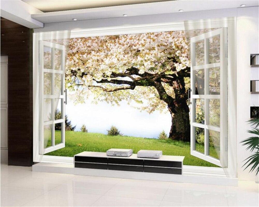 3D обои beibehang HD, 3d Вишневое дерево, окно, фон для стены, обои для фотографий, обои, обои
