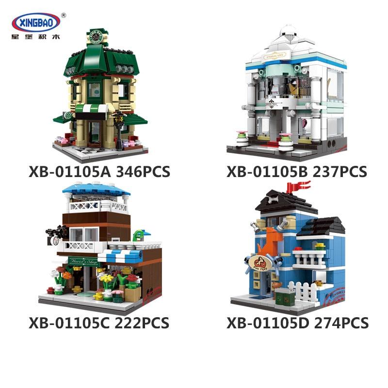 IN STOCK XingBao 01105  1079 Pcs The Coffee Shop Wedding Store Flower Shop Pet Shop Set 4 in 1 Building Blocks Bricks Toys Model