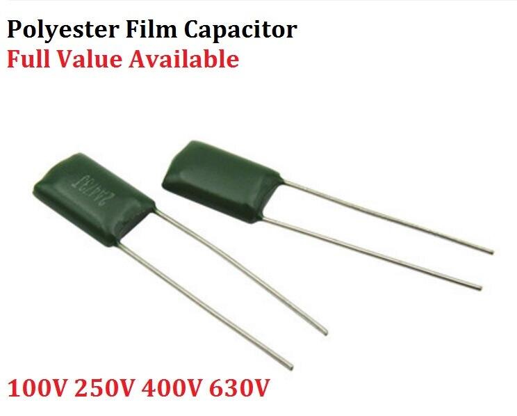 20 piezas condensador de película de poliéster 100V 2A154J 2A224J 2A334J 2A474J/150/220/330/470NF/0,15/22/33/47 uf 2G103J 400V 10NF 0,01 UF