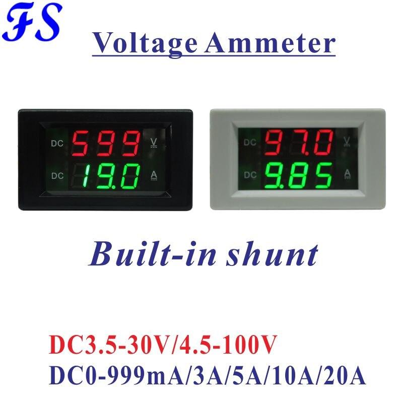 DC 3,5-30 V 4,5-100 V светодиодный цифровой вольтметр Амперметр Вольтметр Амперметр DC 0-999mA/3A/5A/10A/20A DC измеритель напряжения тока