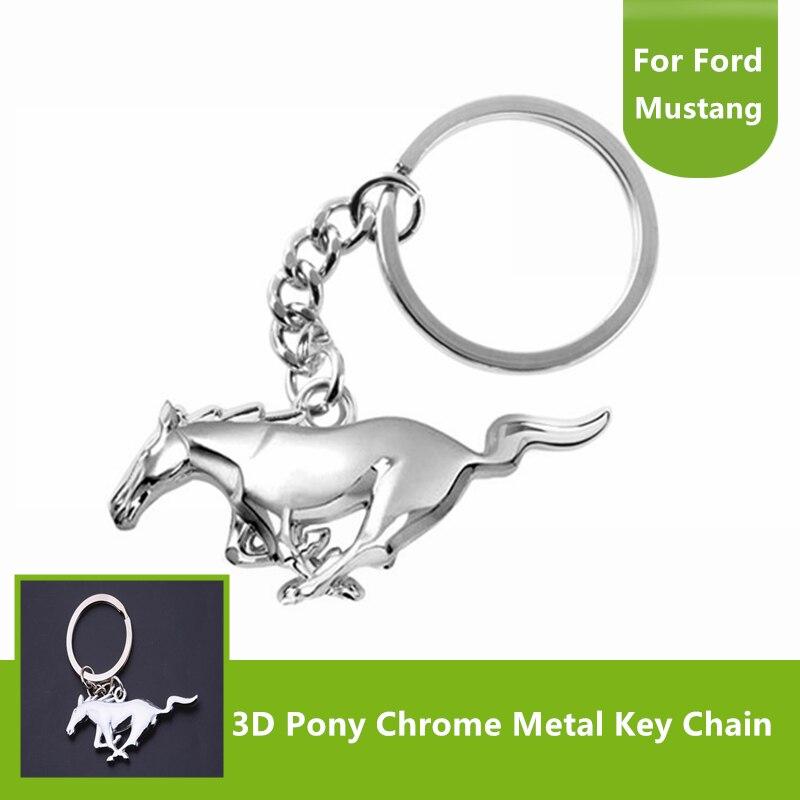 Porte-clés anneau de clé   Pour Ford Mustang 2017 2018 2019 2020 finition chromée, acier 3D poney forme de cheval, meilleur cadeau accessoires Auto