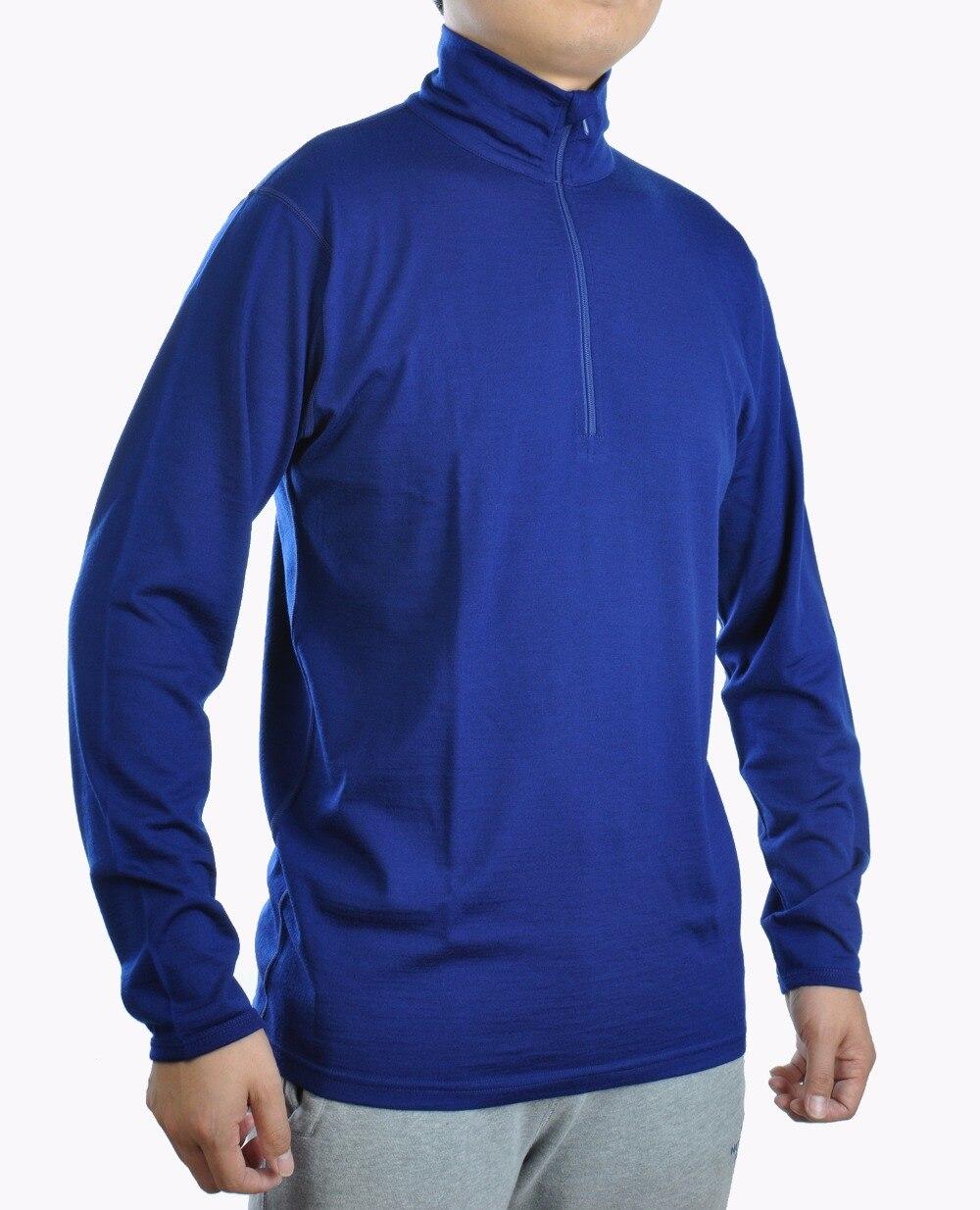 100% de lana larga Merino para hombre, camiseta de capa Base, Jersey de punto ligero 1/4 YKK Zip Flat Lock costuras