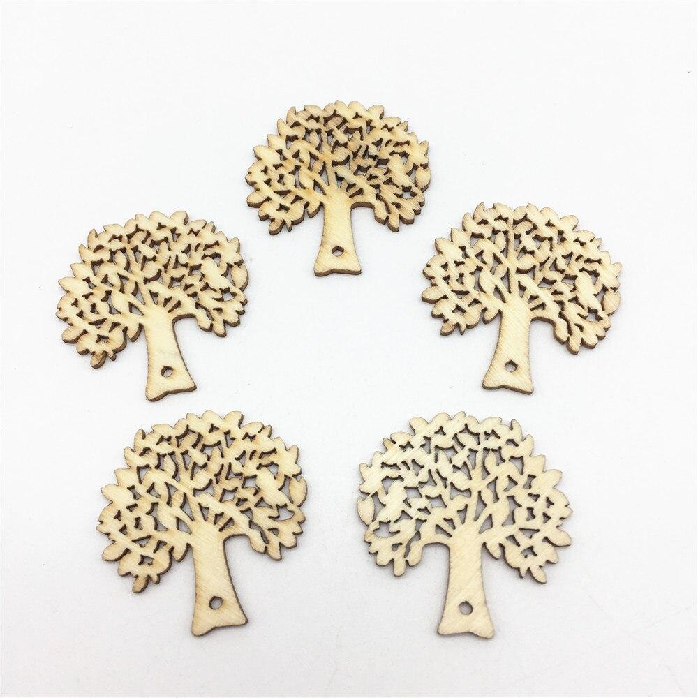 200 Uds 32X32mm madera Banyan accesorios artesanales para árbol etiquetas decoraciones de boda Natural Scrapbooking