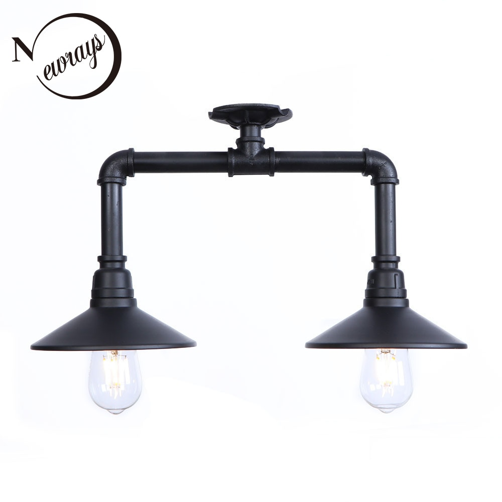 Vintage painted industrial ceiling lamps E27 LED 220V water pipe ceiling lights for living room bedroom restaurant hallway hotel
