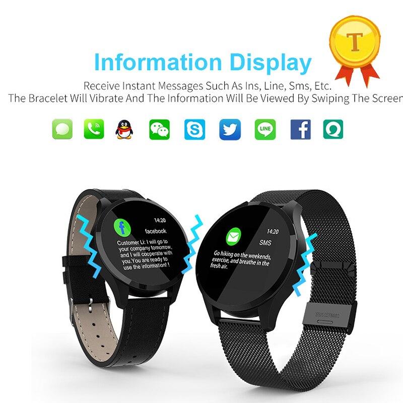 ¡Superventas! pulsera inteligente de acero metálico con soporte SMS/Skype/Facebook/Twitter/línea/WhatsApp notificación push call recordatorio alram