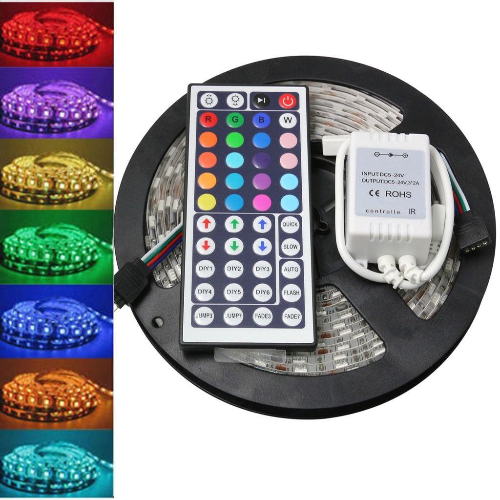 Tira de luz LED RGB SMD 2835 5M cinta RGB impermeable DC12V diodo de cinta led tira de luz Flexible de la lámpara de rayas IR controlador WIFI #5