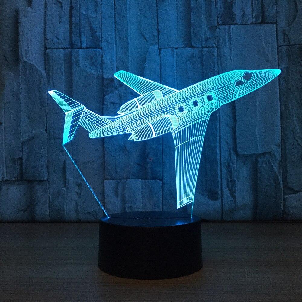 Private JET Flugzeug USB schreibtischlampe 3D Lampe licht 7 farbe ändern 3D Nachtlicht Remote Touch Switct Baby Schlafzimmer Tischlampe