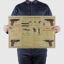 Pistolet 9 MM/conception darme célèbre/pistolet/papier kraft/affiche de barre/affiche rétro/autocollants peinture décorative 51x35.5cm de haute qualité