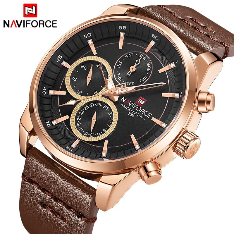 NAVIFORCE Top Luxury Brand Watches Men Fashion Casual Quartz 24 Hours Date Watch Man Leather Waterproof Clock Relogio Masculino