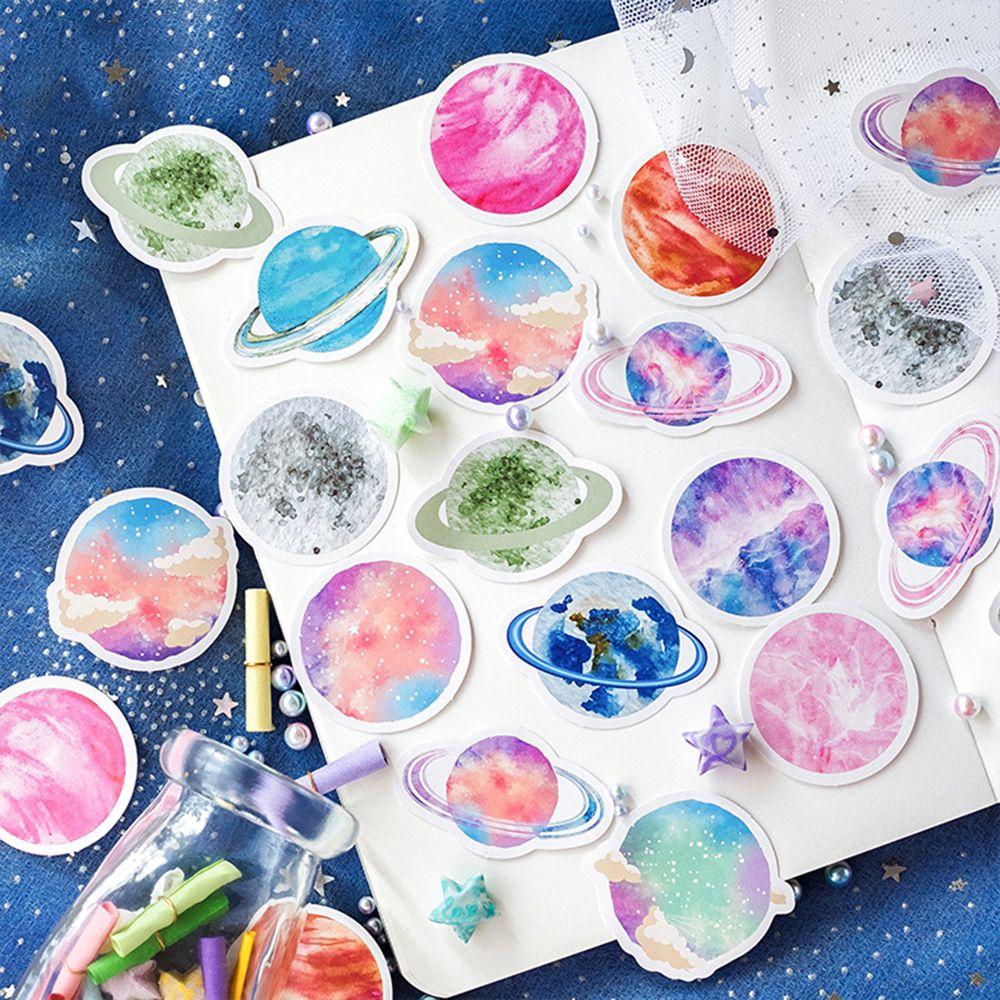 45 unids/pack lindo álbum de recortes diario hojas para diario Mini espacio decorativo planetas pegatina acuarela