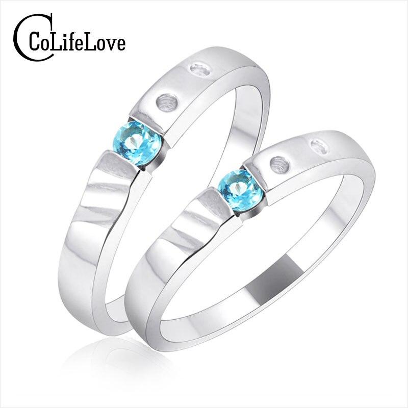 الكلاسيكية فضة خاتم زوجين طباعة اسم العشاق حلقة 4*4 ملليمتر الضوء الأزرق توباز 925 فضة الاحجار الطبيعية العشاق