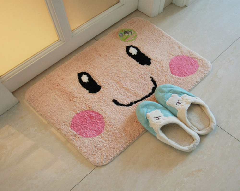 2016 Super Cute Cartoon Süßes Lächeln Gesichtsausdruck Yellow Weichen Boden Badezimmer Küche Home Dekorative Teppich Matte Teppiche Pad