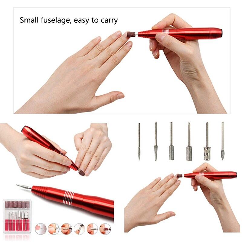 UK/EU/US plug professionnel électrique perceuse à ongles stylo 6 Bits ongle soins Kit manucure vernis Machine outil dart des ongles