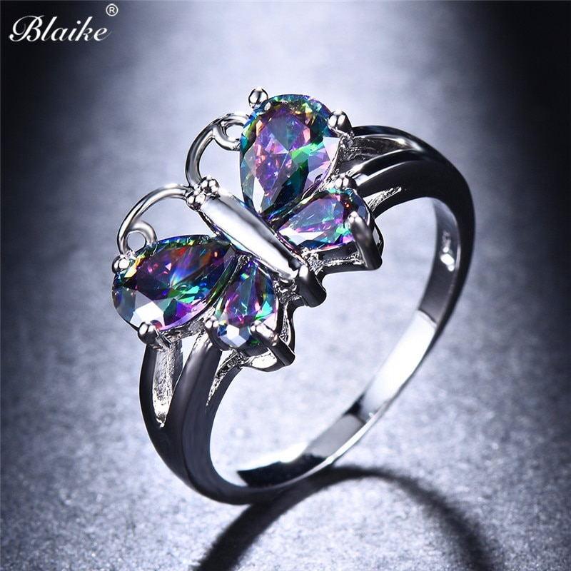 Женские кольца с крыльями бабочки Blaike, разноцветные кольца из циркония серебряного цвета для помолвки, подарок на день рождения