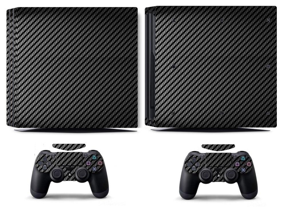 Черная наклейка из углеродного волокна для PS4 PRO, PS4 Pro, Виниловая наклейка для Sony PS4 PRO PlayStation 4 PRO и 2 контроллера