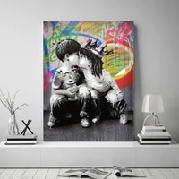 canvas painting figure portrait picture wall art graffiti home decor abstract women pictures bansky art pop posters and prints