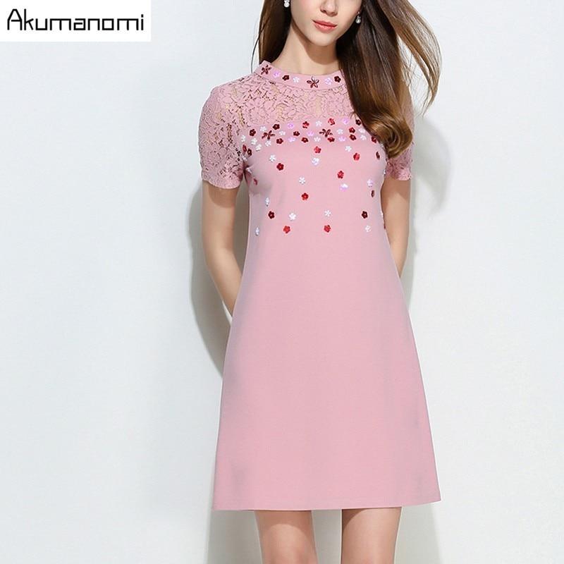 Dress Lace Cotton Patchwork Short-sleeved Beading Stand Collar Ofice Party Summer Dress Plus Size 5XL 4XL XXXL XXL XL L