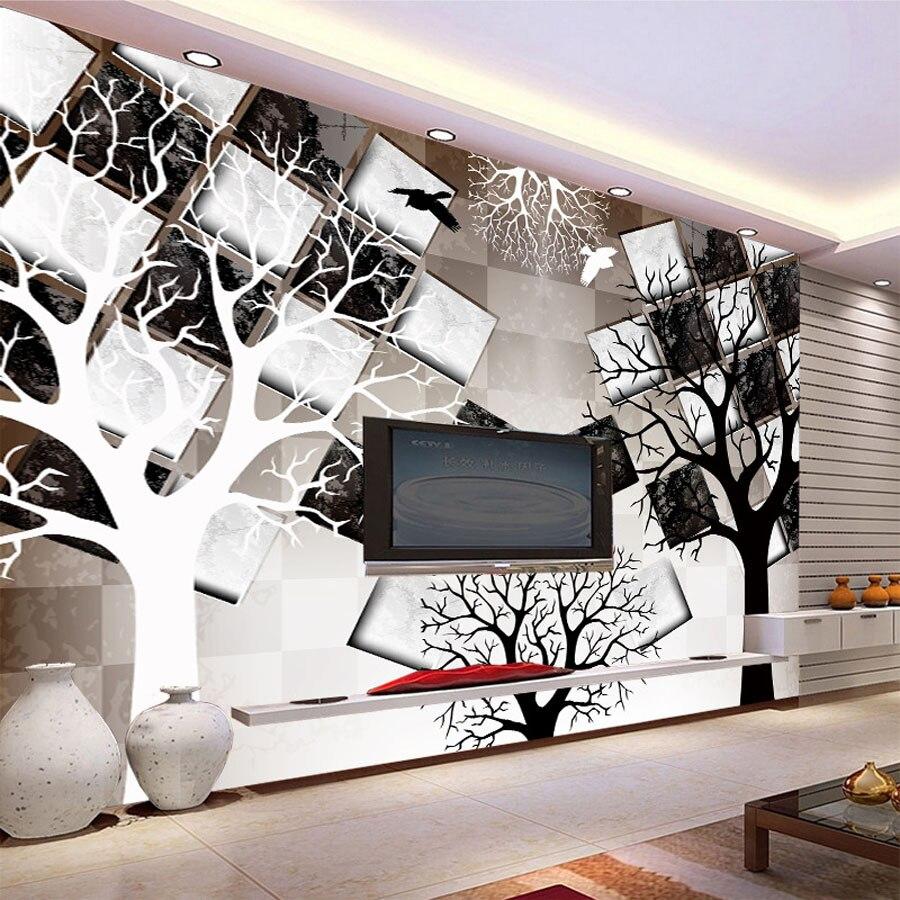 Cool negro blanco árbol ladrillo de verificación natural papel pintado con foto 3d mural para rollos de papel de pared 3d sala de estar pintura niños dormitorio