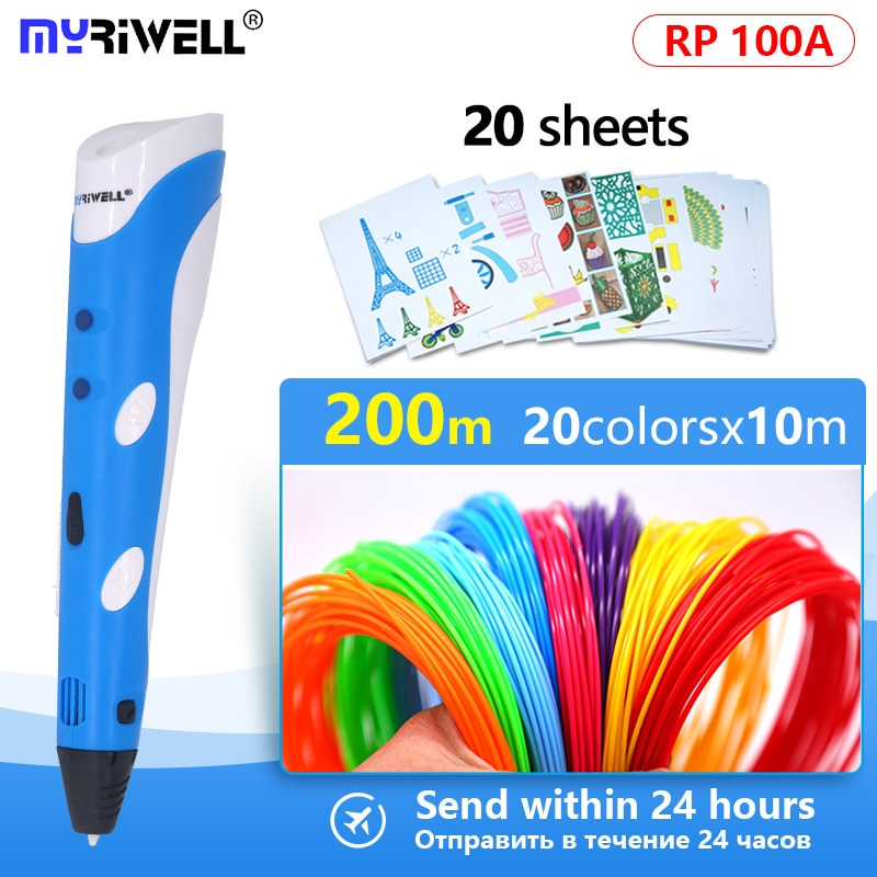 Myriwell 3d plumas 3d impreso pluma lapiz 3d pen 3d pens 1.75mm ABS/PLA filamento Magia DIY regalos de cumpleaños diseñado para creación kids pluma