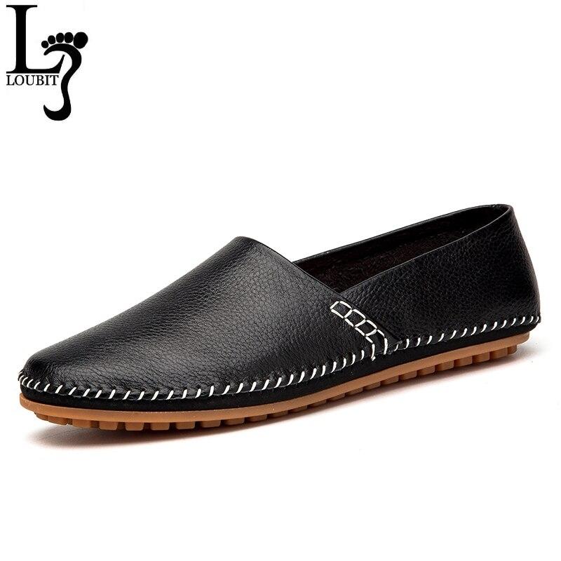 2019 Genuínos Homens de Couro dos Preguiçosos dos homens Deslizamento Em Sapatas de couro de Vaca Mocassins Condução Casual Sapatos Masculinos Flats Loafer Centavo sapatos