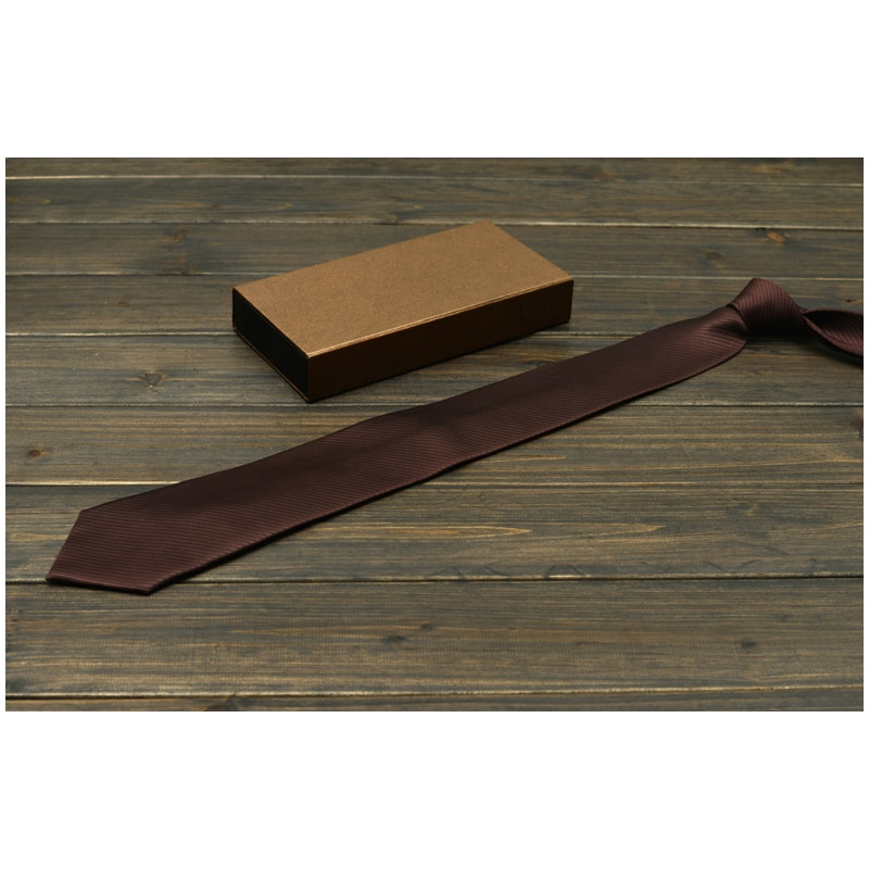 New High Quality 2019 Mens Business Tie Formal Solid Color Wedding Necktie 8CM Classic Casual Brown Neckwear Gravata Gift Box