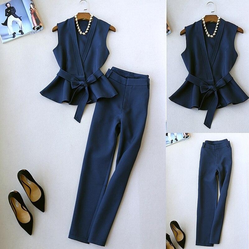 Conjunto de 2 piezas de trajes para mujer, novedad, a la moda, elegante, pionero, temperamento, traje de dos piezas, chaleco sin mangas, conjunto de pantalones